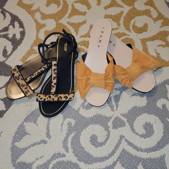 2 pairs of Zara flats/sandals